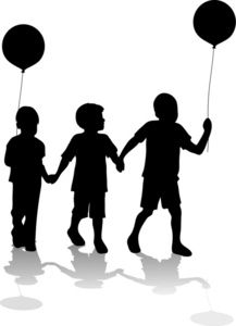 Free Brothers Clip Art Image: Silhouette of Kids at a Carnival, Circus or Fair Holding Balloons As They Explore