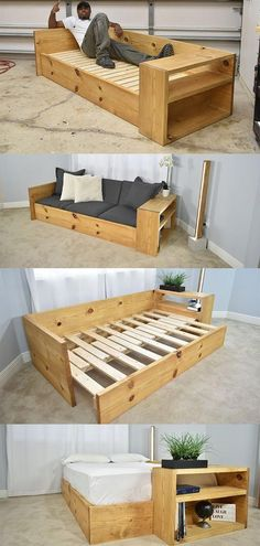 DIY Sofa Bed / Turn this sofa into a BED – rustic home diy Diy Sofa, Diy Wood Projects, Home Projects, Upcycling Projects, Bed Plans, Wooden Pallets, Pallet Benches, Pallet Sofa, Wood Pallet Tables