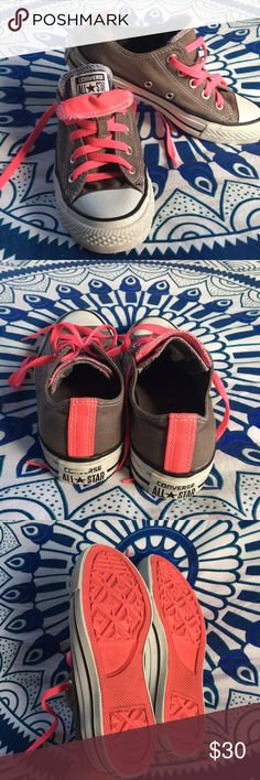 Grey and Pink Low Double Tongue Converse Barely worn converse. Super cute and comfy. Hardly any signs of wear, just as shown (back bottom logo). Looks great with jeans, shorts, t-shirt dresses or for the perfect weightlifting workout! Converse Shoes