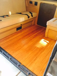 Custom wood flooring in my '86 Weekender leftover from a guest room project.