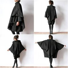 """""""Black Inverness Cape Coat, Avant Garde Minimalist 80s convertible rain jacket hipster New Wave batwing goth overcoat cloak poncho"""" Can't quite explain it, but I like this"""