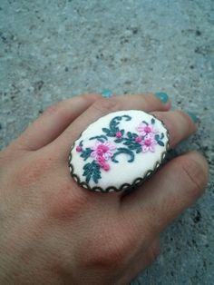 Big ring Cute ring Gypsy ring Unique rings for women Green pink flower ring Embroidered jewelry Cocktail ring by RedWorkStitches on Etsy
