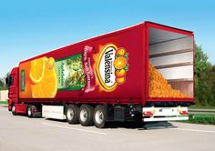 Series of clever advertising campaigns on German semi trucks. Truck Design, Ad Design, Signage Design, Semi Trucks, Big Trucks, Ford Trucks, Trailers, Clever Advertising, Wrap Advertising