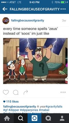"Soos! Gravity Falls>>>> NOT THE ONLY ONE WHO MET SOMEONE LIKE THAT?!<<<in ""The Gobblewonker"" I turned on the subtitles and it said ""Zeus"""