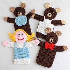 "PA861 Storybook Puppets: Goldilocks and the 3 Bears Crochet Pattern- Now your children and grandchildren will enjoy hours of fun acting out this fairy tail with the new storybook puppets. Goldilocks, Papa, Momma and Baby Bears are now available in a hand puppet size. Puppets measure about 12"" or 15"" inches tall depending on sport or worsted weight yarn used."