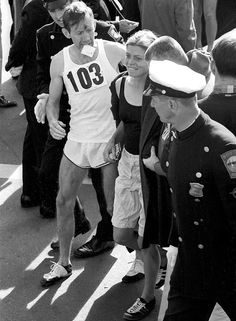 "Roberta Louise ""Bobbi"" Gibb1942, is the first woman to have run the entire Boston Marathon (1966).  Running without a number because women were not allowed into the race."" The police ran after her and tried to arrest her. Women were not considered strong enough to run the marathon."" She Challenged prevalent prejudices and misconceptions about women's athletic capabilities."