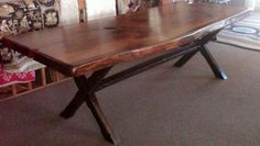 """Live Edge Table. made from 3"""" Thick - 38"""" wide pine slab.  Sawbuck Base"""