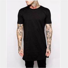 2016 Brand New Clothing Mens Black Long t shirt Men Tops Hip hop tee T- eb67df67f28b