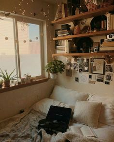 Aesthetic Bedroom Ideas - Neutral Various Textured Bedding Photographs And Shelves Aesthetic Bedroom In 2019 Room Decor Dream Rooms Boho Room 464 Best Aesthetic Room Decor Images In 2019 Room Decor Nice 70 Cozy Apartment Bedroom Ideas Apartment Bedroom 15