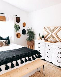 How to give boho treatment to a black and white bedroom - Harvey Cla . - How To Give Boho Treatment To A Black And White Bedroom – Harvey Clark – - Cute Dorm Rooms, Cool Rooms, Kid Rooms, Living Rooms, Modern Bedroom, Bedroom Decor, Bedroom Ideas, Master Bedroom, Contemporary Bedroom