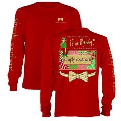 Simply Southern Tis The Season To Be Preppy Christmas Long Sleeve T-Shirt Available in sizes- Adult S,M,L, XL, 2XL