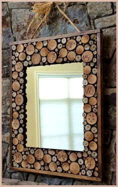 Lipstick and Sawdust: DIY mirror w/ wood slices and custom branding. class auction items. DIY auction projects. School auction.