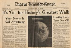 Day Before Man Walks On Moon Neil Armstrong Newspaper 7 20 1969