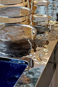 A hand-hammered stainless steel metal countertop