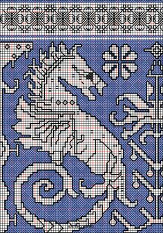 """working drawing 1 Assisi embroidery design """"seahorses """"."""