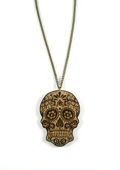 Sugar Skull Necklace  Laser Cut & Engraved Wooden by 2good2bewood