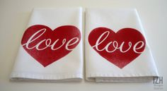 Love Heart Napkins Set of 2 by IZHDesigns on Etsy