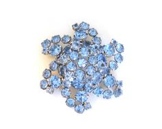 Vintage Blue Rhinestone Pin Brooch Tiered Flower Juliana Silver Metal Large Big Size