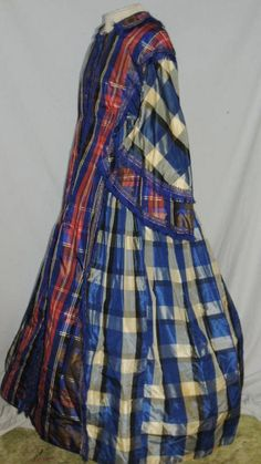 Civil War Victorian Era CA 1850's Plaid Robe de Chambre Dress SM | eBay