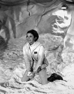 Leia about to throw an artificial snow ball at someone