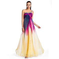 A-line/Princess One-shoulder Floor-length Chiffon Printing Evening/Prom Dress – USD $ 179.99