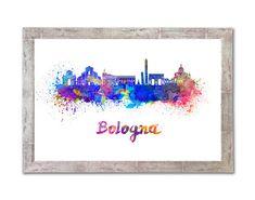 Bologna skyline en acuarela sobre fondo blanco con el nombre de la ciudad. - SKU 0766 by Paulrommer on Etsy