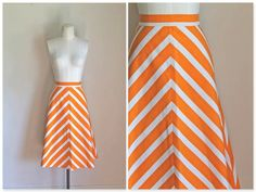 vintage chevron skirt - SUNKIST orange striped skirt / S