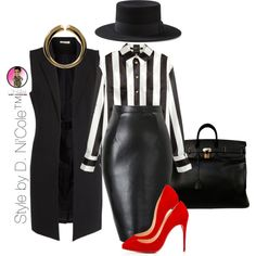 Untitled #2905 by stylebydnicole on Polyvore featuring H&M, Pieces, Yves Saint Laurent, Christian Louboutin, Hermès and Giuseppe Zanotti