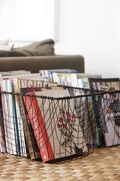 Wire Bins: book/magazine storage