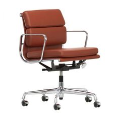 Soft Pad EA 217 task chair by Charles & Ray Eames from Vitra. Swivel Office Chair, Charles & Ray Eames, Hard Floor, Stitching Leather, Chair Pads, Upholstery, Cushions, Interior Design, Furniture