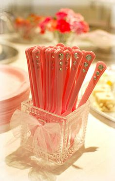 Princess party bedazzle spoons/forks Could do this with teal or black for brave party.