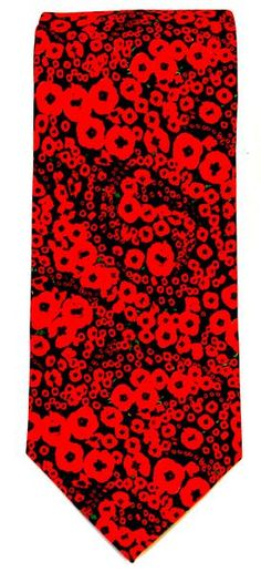 Dimensions: 8 cm x 150cm  Material: Silk 100%  Colour of print: Red and black poppy design Free shipping