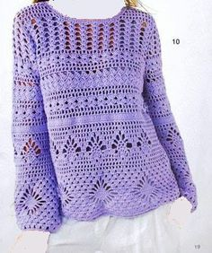 Crochet Patterns Pullover Beautiful crochet blouse with stripes at different stitches T-shirt Au Crochet, Crochet Bolero, Cardigan Au Crochet, Beau Crochet, Bikini Crochet, Gilet Crochet, Black Crochet Dress, Crochet Shirt, Crochet Jacket