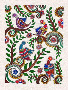Madhubani Paintings Peacock, Madhubani Art, Indian Art Paintings, Phad Painting, Mural Painting, Mural Art, Indian Traditional Paintings, Lord Jagannath, Small Canvas Art