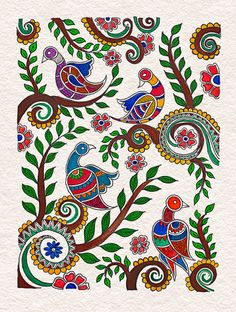 Madhubani Paintings Peacock, Kalamkari Painting, Madhubani Art, Indian Art Paintings, Phad Painting, Mural Painting, Indian Traditional Paintings, Indian Folk Art, Art N Craft