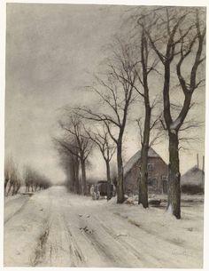 Winterlandschap met boerderij aan een laan, Louis Apol, 1860 - 1936