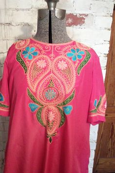 Vintage Fushia Embroidered Maxi Gown / by JulesCristenVintage