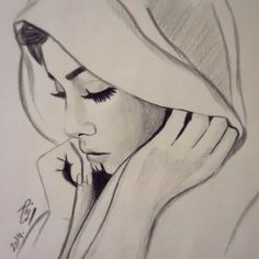 easy drawings for beginner artists Girl Drawing Sketches, Cool Art Drawings, Pencil Art Drawings, Hijab Drawing, Pencil Portrait, Drawing People, Painting & Drawing, Amazing Art, Paintings