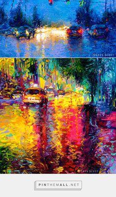 "Beautiful ""night lights""! Vibrant Oil Finger Paintings by Iris Scott | Colossal - created via https://pinthemall.net"