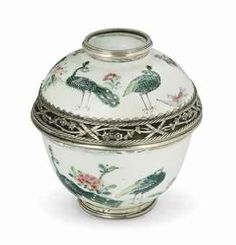 A CHINESE FAMILLE ROSE PORCELAIN COVERED BOWL ADAPTED AS AN INKWELL WITH LATER FRENCH SILVER MOUNTS