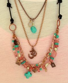 Multistrand Copper and Gemstone Necklaces With by MAGICALUNIVERSE