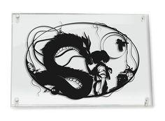 FRAMED Spirited Away Studio Ghibli Haku and Chihiro Miyazaki No Face Fantasy Art Papercut Dragon Love Art Anniversary Gift Home Decor Studio Ghibli hat Haku und Chihiro umgehauen // Silhouette von Will Pigg Miyazaki, Ghibli Tattoo, Spirited Away Haku, Spirited Art, Totoro, Frames On Wall, Frame Wall Decor, Wall Art, Framed Wall