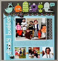 "Nancy Damino - Doodlebug Halloween line with google eyes added; commas used above the ""oo"" of the word spooky"