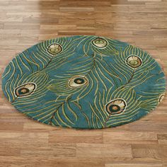 Peacock Feathers Round Rugs