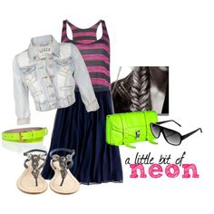 """a bit of neon"" by modestlyme on Polyvore. Wednesday night church outfit? I think yeeeeeah!"