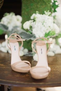 Blush Miu Miu Shoes - See the wedding on SMP: http://www.StyleMePretty.com/2014/03/31/celebrity-stylists-wedding-at-bedford-post-inn/ Trent & Dara Of Trent Bailey Photography - www.trentbailey.com on #SMP