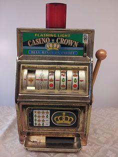 Vintage Waco Casino Crown Vegas Jackpot Slot Machine Quarter Toy Mechanical Bank #antiqueslotcoinmachine