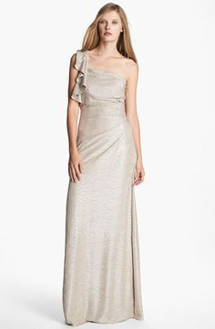 Hailey by Adrianna Papell Metallic One Shoulder Gown (Online Only) available at #Nordstrom
