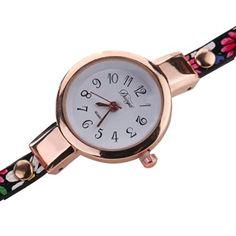 LANDFOX Women Diamond Wrap Around Leatheroid Quartz Wrist Watch Black: landfox: Watches
