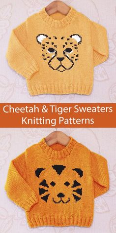 Cheetah and Tiger Sweater Knitting Patterns Baby and Children's sweaters for 0 - 5 years with either a Cheetah Face or Tiger Face chart. Fingering weight yarn. Designed by Instarsia